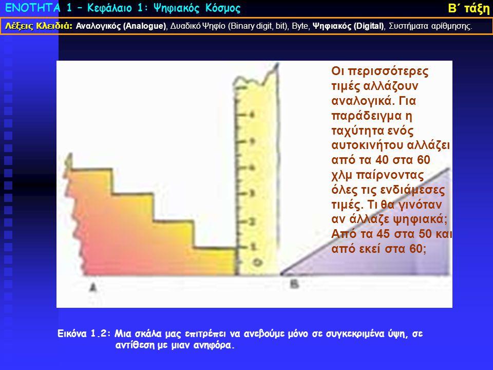 ΕΝΟΤΗΤΑ 1 – Κεφάλαιο 1: Ψηφιακός Κόσμος Β΄ τάξη Εικόνα 1.2: Μια σκάλα μας επιτρέπει να ανεβούμε μόνο σε συγκεκριμένα ύψη, σε αντίθεση με μιαν ανηφόρα.