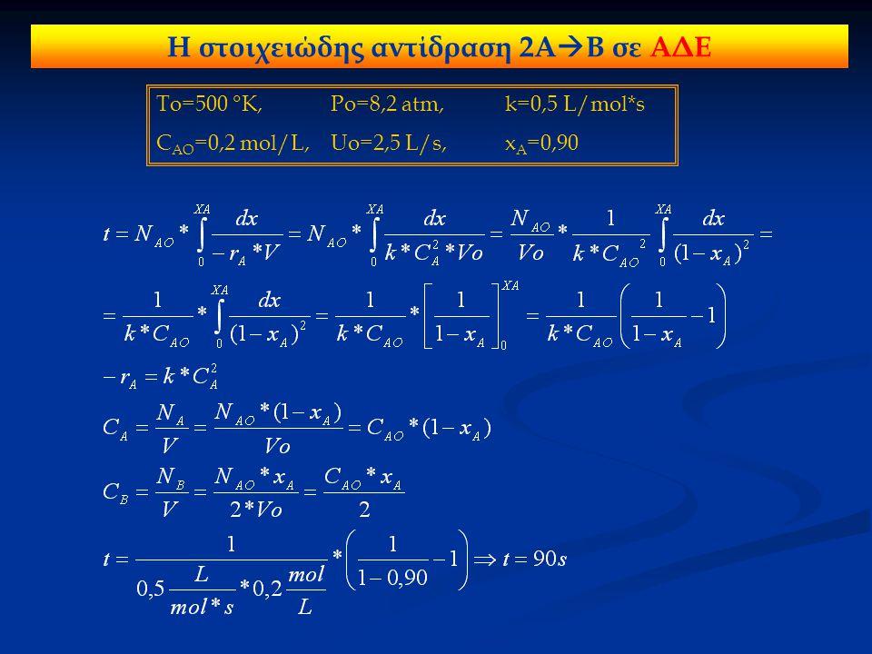 Η στοιχειώδης αντίδραση 2Α  Β σε ΑΔΕ To=500 °K, Po=8,2 atm, k=0,5 L/mol*s C AO =0,2 mol/L, Uo=2,5 L/s,x A =0,90
