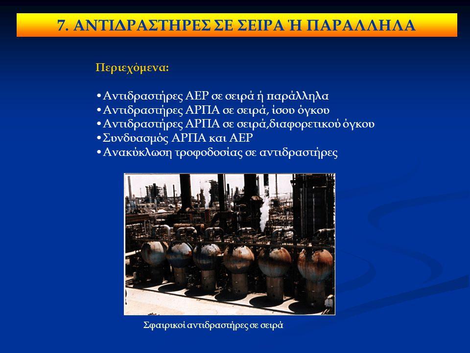 7. ΑΝΤΙΔΡΑΣΤΗΡΕΣ ΣΕ ΣΕΙΡΑ Ή ΠΑΡΑΛΛΗΛΑ Περιεχόμενα: Αντιδραστήρες ΑΕΡ σε σειρά ή παράλληλα Αντιδραστήρες ΑΡΠΑ σε σειρά, ίσου όγκου Αντιδραστήρες ΑΡΠΑ σ