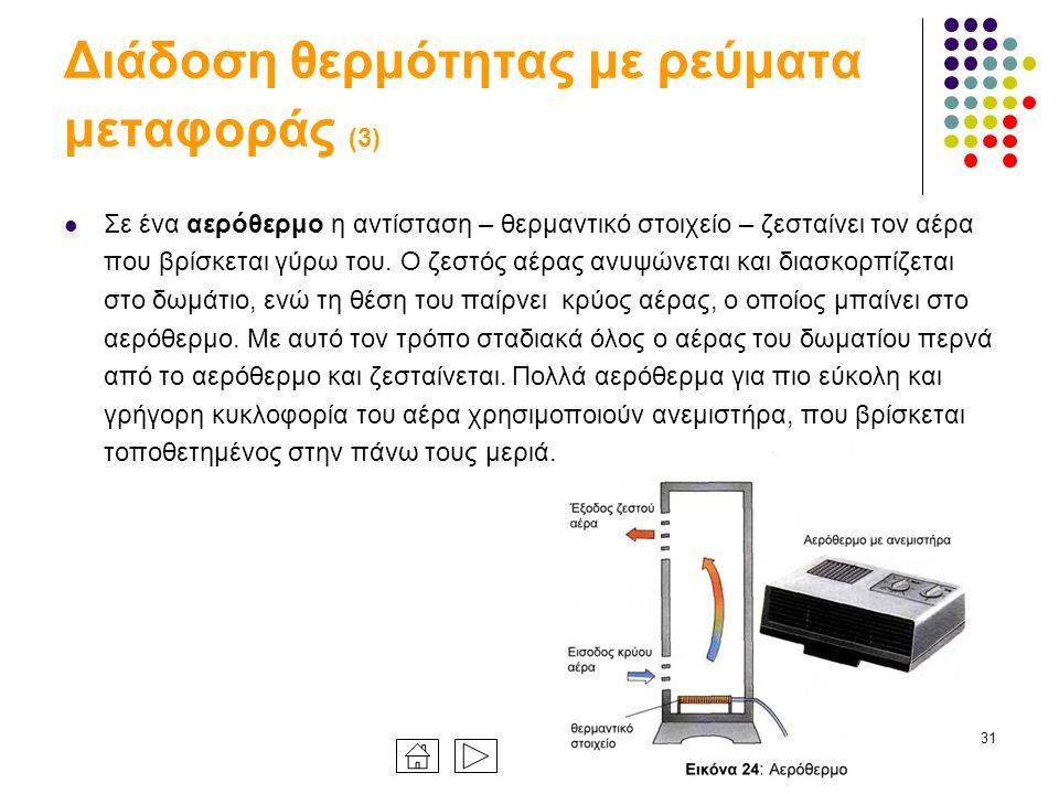 31 Διάδοση θερμότητας με ρεύματα μεταφοράς (3) Σε ένα αερόθερμο η αντίσταση – θερμαντικό στοιχείο – ζεσταίνει τον αέρα που βρίσκεται γύρω του.