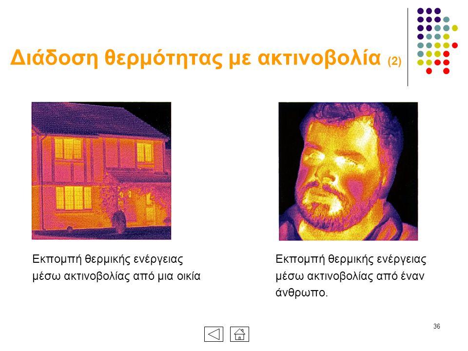 36 Διάδοση θερμότητας με ακτινοβολία (2) Εκπομπή θερμικής ενέργειας μέσω ακτινοβολίας από μια οικία Εκπομπή θερμικής ενέργειας μέσω ακτινοβολίας από έναν άνθρωπο.