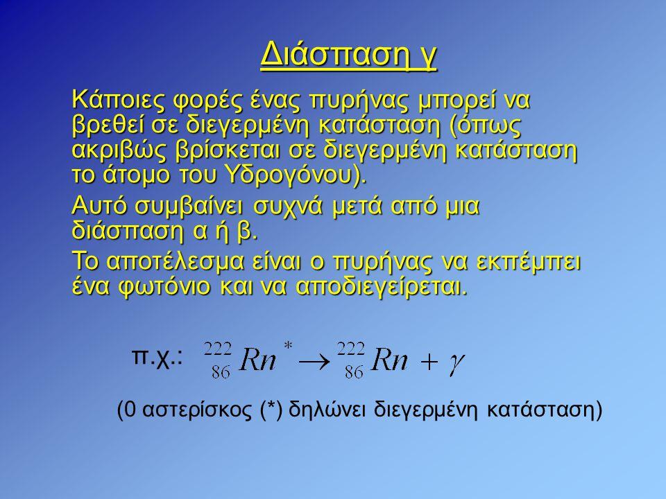 Διάσπαση γ Κάποιες φορές ένας πυρήνας μπορεί να βρεθεί σε διεγερμένη κατάσταση (όπως ακριβώς βρίσκεται σε διεγερμένη κατάσταση το άτομο του Υδρογόνου)
