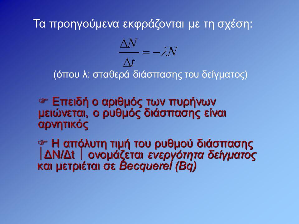 Τα προηγούμενα εκφράζονται με τη σχέση: (όπου λ: σταθερά διάσπασης του δείγματος)  Επειδή ο αριθμός των πυρήνων μειώνεται, ο ρυθμός διάσπασης είναι α