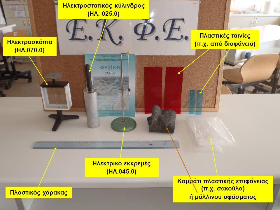 Ηλεκτροστατικός κύλινδρος (ΗΛ. 025.0) Ηλεκτροσκόπιο (ΗΛ.070.0) Ηλεκτρικό εκκρεμές (ΗΛ.045.0) Πλαστικός χάρακας Πλαστικές ταινίες (π.χ. από διαφάνεια)