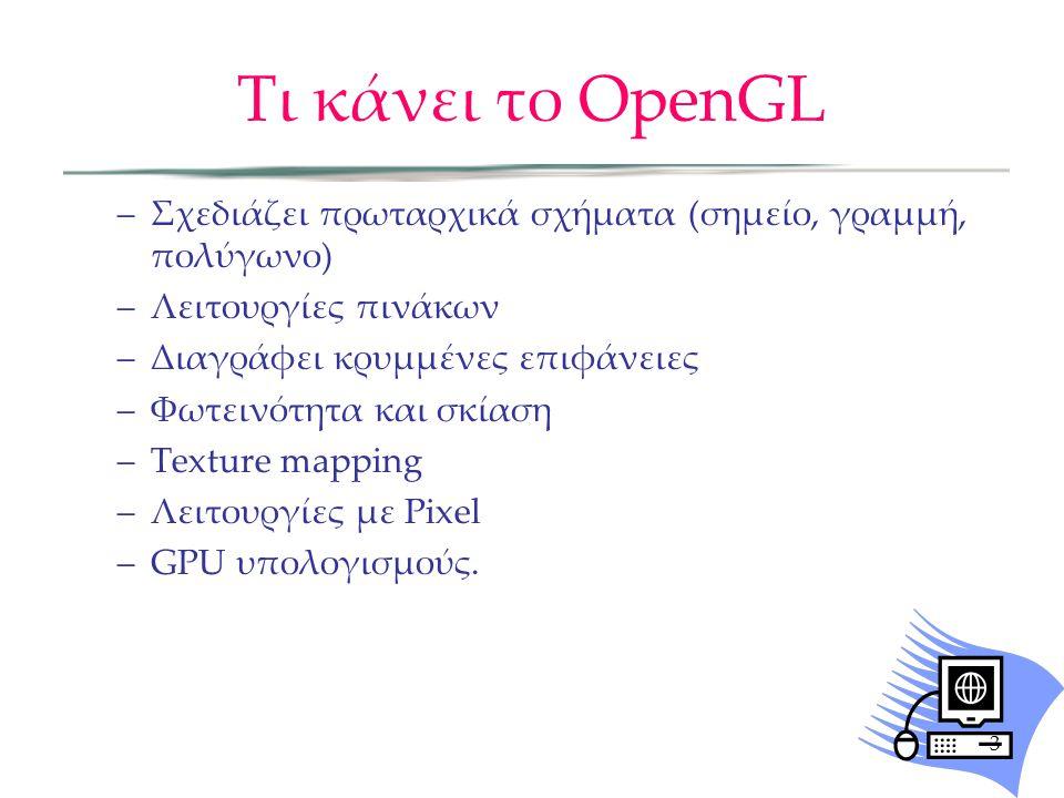 Τι κάνει το OpenGL –Σχεδιάζει πρωταρχικά σχήματα (σημείο, γραμμή, πολύγωνο) –Λειτουργίες πινάκων –Διαγράφει κρυμμένες επιφάνειες –Φωτεινότητα και σκίαση –Texture mapping –Λειτουργίες με Pixel –GPU υπολογισμούς.