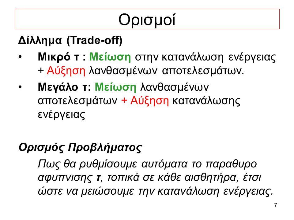 7 Ορισμοί Δίλλημα (Trade-off) Μικρό τ : Μείωση στην κατανάλωση ενέργειας + Αύξηση λανθασμένων αποτελεσμάτων.