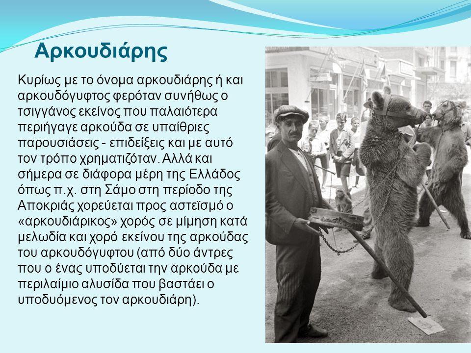 Αρκουδιάρης Κυρίως με το όνομα αρκουδιάρης ή και αρκουδόγυφτος φερόταν συνήθως ο τσιγγάνος εκείνος που παλαιότερα περιήγαγε αρκούδα σε υπαίθριες παρου