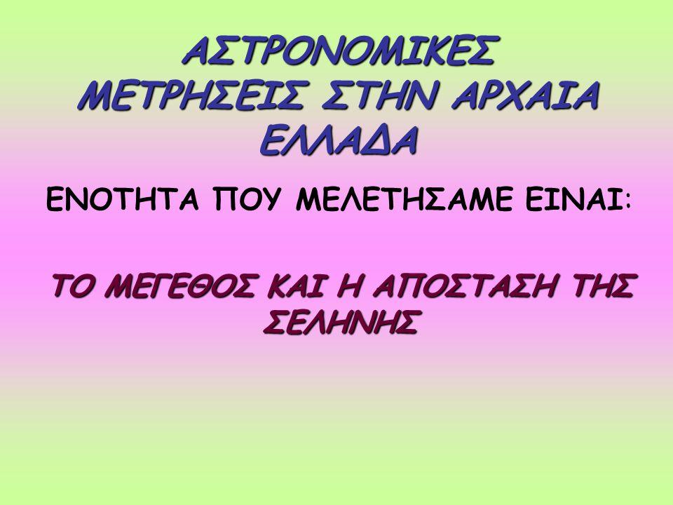 Η ΘΕΩΡΙΑ ΤΟΥ ΑΡΙΣΤΑΡΧΟΥ Η Γη είναι σφαιρικήΗ Γη είναι σφαιρική Ο Ήλιος βρίσκεται σε άπειρη απόσταση από τη Γη και οι ακτίνες του όταν φτάνουν στη Γη είναι παράλληλες η μία από την άλληΟ Ήλιος βρίσκεται σε άπειρη απόσταση από τη Γη και οι ακτίνες του όταν φτάνουν στη Γη είναι παράλληλες η μία από την άλλη Η Σελήνη περιστρέφεται γύρω από τη Γη έτσι ώστε να βρίσκεται κάποια στιγμή στη σκιά της Γης και να συμβαίνουν εκλείψειςΗ Σελήνη περιστρέφεται γύρω από τη Γη έτσι ώστε να βρίσκεται κάποια στιγμή στη σκιά της Γης και να συμβαίνουν εκλείψεις