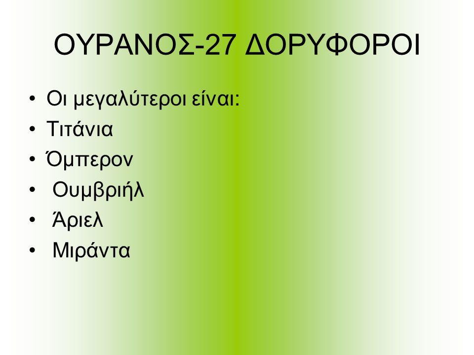 ΟΥΡΑΝΟΣ-27 ΔΟΡΥΦΟΡΟΙ Οι μεγαλύτεροι είναι: Τιτάνια Όμπερον Ουμβριήλ Άριελ Μιράντα