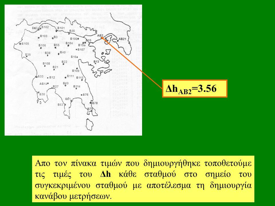 Απο τον πίνακα τιμών που δημιουργήθηκε τοποθετούμε τις τιμές του Δh κάθε σταθμού στο σημείο του συγκεκριμένου σταθμού με αποτέλεσμα τη δημιουργία κανάβου μετρήσεων.