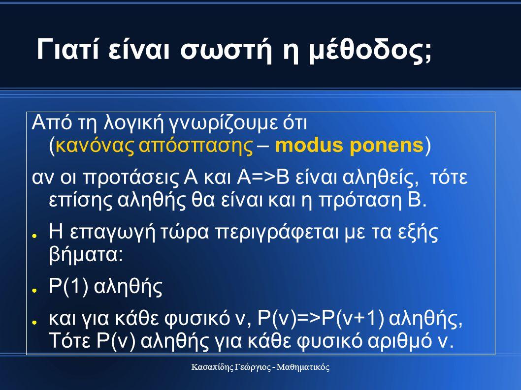 Κασαπίδης Γεώργιος - Μαθηματικός Γιατί είναι σωστή η μέθοδος; Από τη λογική γνωρίζουμε ότι (κανόνας απόσπασης – modus ponens) αν οι προτάσεις Α και Α=