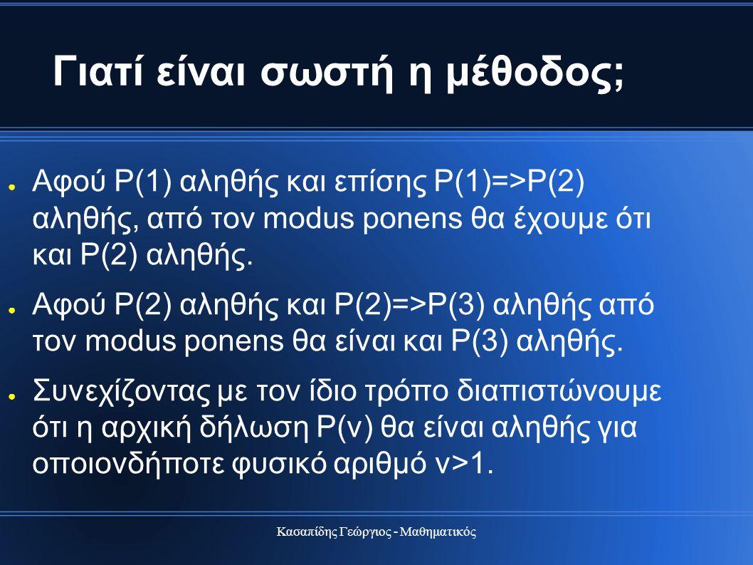 Κασαπίδης Γεώργιος - Μαθηματικός Γιατί είναι σωστή η μέθοδος; ● Αφού Ρ(1) αληθής και επίσης Ρ(1)=>Ρ(2) αληθής, από τον modus ponens θα έχουμε ότι και