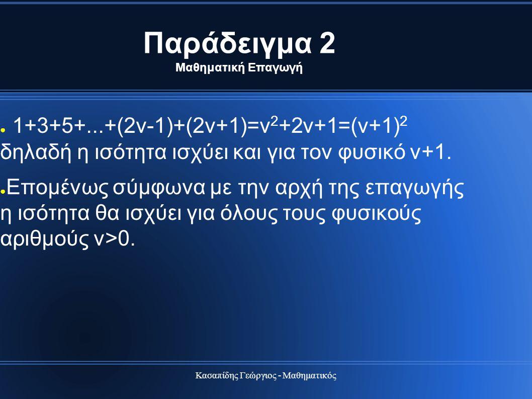 Κασαπίδης Γεώργιος - Μαθηματικός Παράδειγμα 2 Μαθηματική Επαγωγή ● 1+3+5+...+(2ν-1)+(2ν+1)=ν 2 +2ν+1=(ν+1) 2 δηλαδή η ισότητα ισχύει και για τον φυσικ