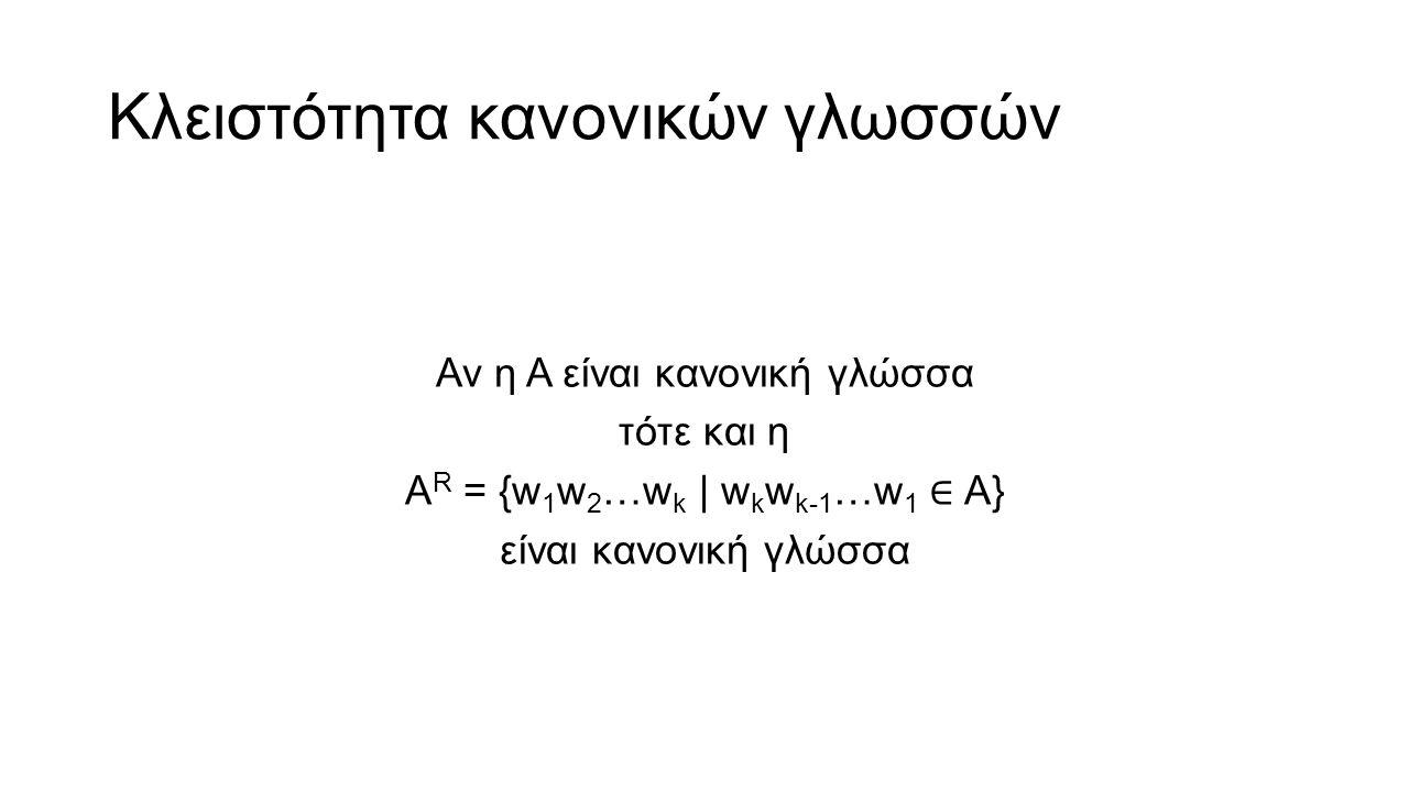 Κλειστότητα κανονικών γλωσσών Αν η A είναι κανονική γλώσσα τότε και η A R = {w 1 w 2 …w k | w k w k-1 …w 1 ∈ A} είναι κανονική γλώσσα