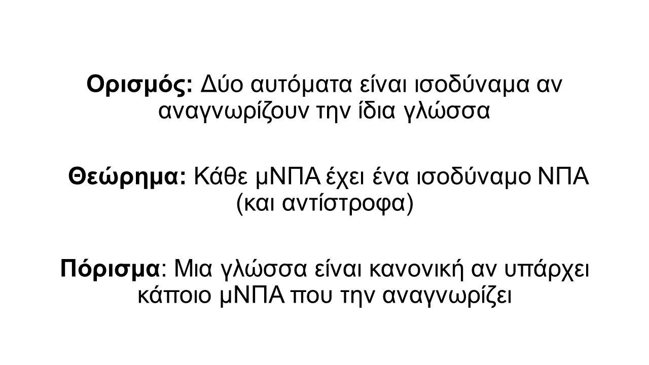 Ορισμός: Δύο αυτόματα είναι ισοδύναμα αν αναγνωρίζουν την ίδια γλώσσα Θεώρημα: Κάθε μΝΠΑ έχει ένα ισοδύναμο ΝΠΑ (και αντίστροφα) Πόρισμα: Μια γλώσσα είναι κανονική αν υπάρχει κάποιο μΝΠΑ που την αναγνωρίζει