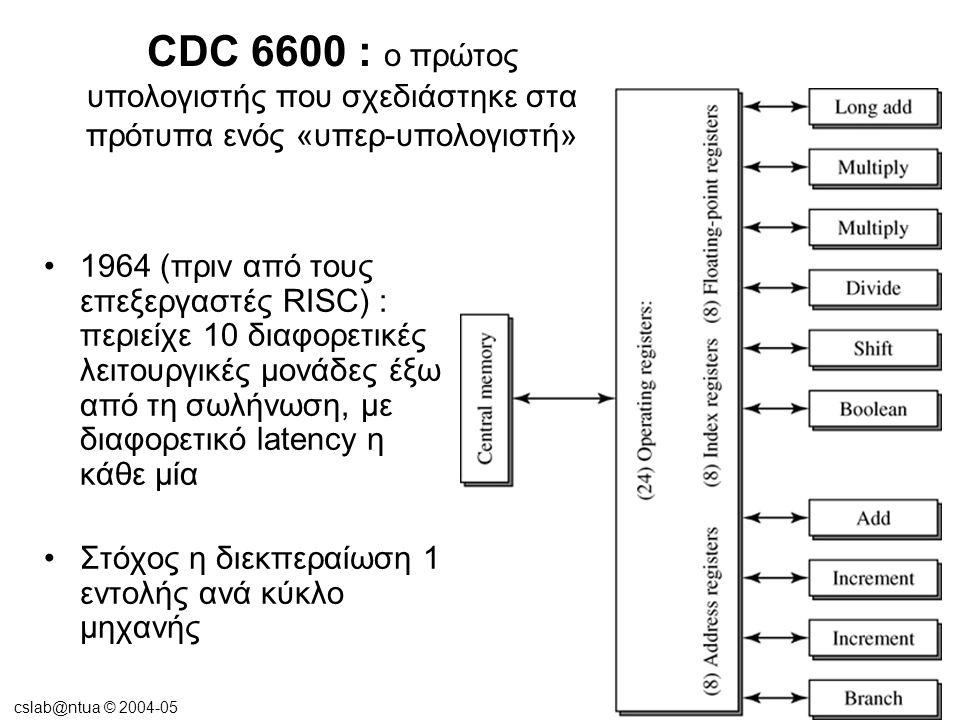 cslab@ntua © 2004-05 CDC 6600 : ο πρώτος υπολογιστής που σχεδιάστηκε στα πρότυπα ενός «υπερ-υπολογιστή» 1964 (πριν από τους επεξεργαστές RISC) : περιείχε 10 διαφορετικές λειτουργικές μονάδες έξω από τη σωλήνωση, με διαφορετικό latency η κάθε μία Στόχος η διεκπεραίωση 1 εντολής ανά κύκλο μηχανής