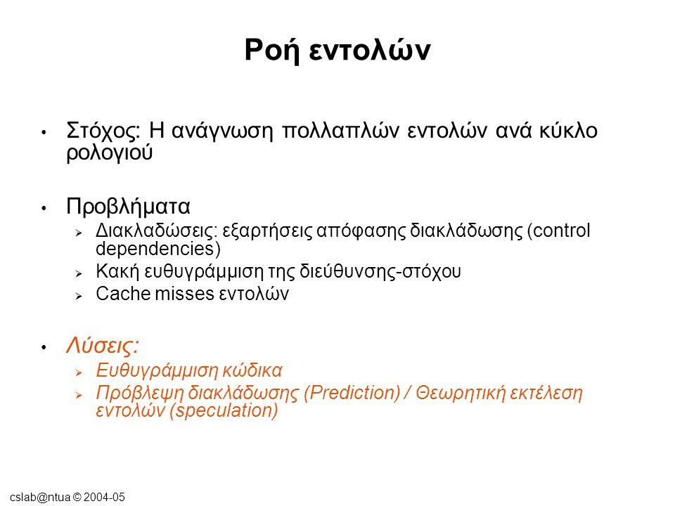 cslab@ntua © 2004-05 Ροή εντολών Στόχος: Η ανάγνωση πολλαπλών εντολών ανά κύκλο ρολογιού Προβλήματα  Διακλαδώσεις: εξαρτήσεις απόφασης διακλάδωσης (control dependencies)  Κακή ευθυγράμμιση της διεύθυνσης-στόχου  Cache misses εντολών Λύσεις:  Ευθυγράμμιση κώδικα  Πρόβλεψη διακλάδωσης (Prediction) / Θεωρητική εκτέλεση εντολών (speculation)