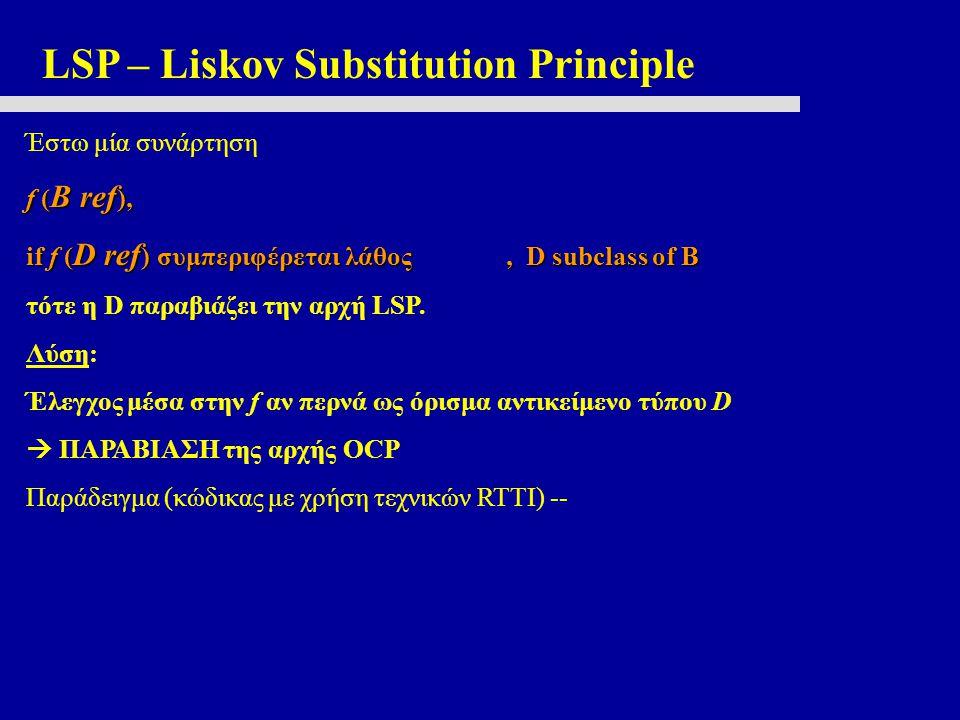 LSP – Liskov Substitution Principle Έστω μία συνάρτηση f ( B ref ), if f ( D ref ) συμπεριφέρεται λάθος, D subclass of B τότε η D παραβιάζει την αρχή LSP.