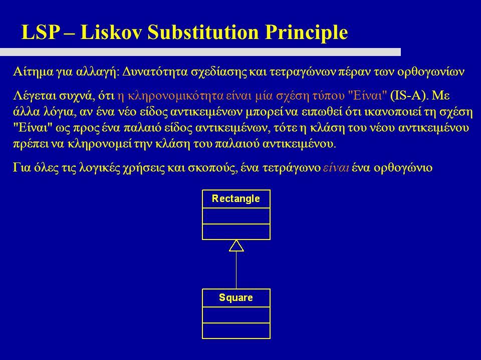 LSP – Liskov Substitution Principle Αίτημα για αλλαγή: Δυνατότητα σχεδίασης και τετραγώνων πέραν των ορθογωνίων Λέγεται συχνά, ότι η κληρονομικότητα είναι μία σχέση τύπου Είναι (IS-A).