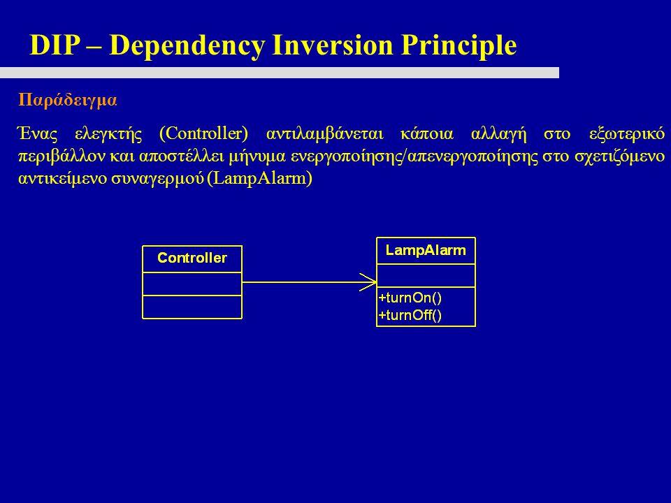 DIP – Dependency Inversion Principle Παράδειγμα Ένας ελεγκτής (Controller) αντιλαμβάνεται κάποια αλλαγή στο εξωτερικό περιβάλλον και αποστέλλει μήνυμα ενεργοποίησης/απενεργοποίησης στο σχετιζόμενο αντικείμενο συναγερμού (LampAlarm)