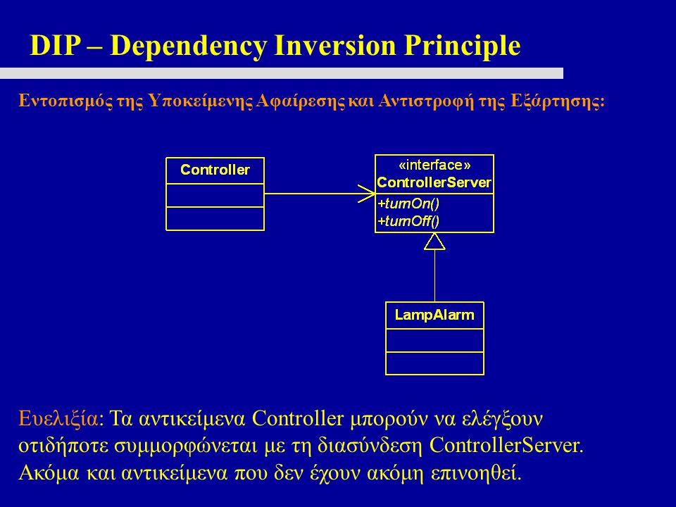 DIP – Dependency Inversion Principle Εντοπισμός της Υποκείμενης Αφαίρεσης και Αντιστροφή της Εξάρτησης: Ευελιξία: Τα αντικείμενα Controller μπορούν να ελέγξουν οτιδήποτε συμμορφώνεται με τη διασύνδεση ControllerServer.