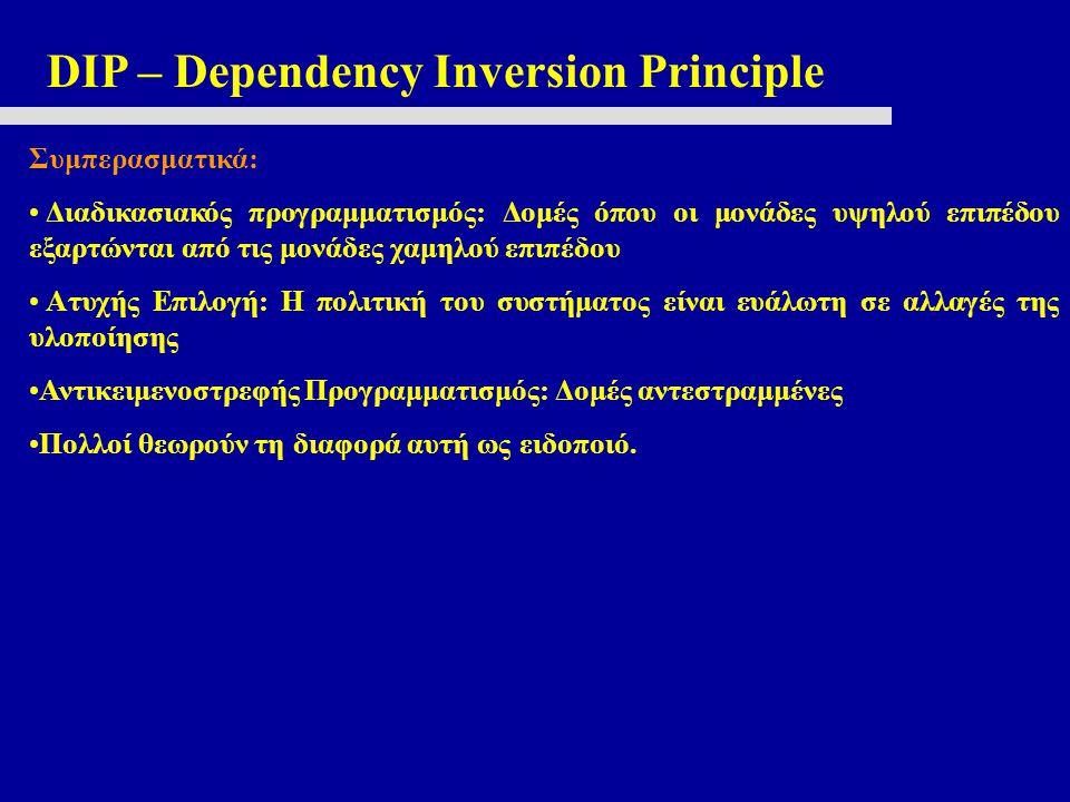 DIP – Dependency Inversion Principle Συμπερασματικά: Διαδικασιακός προγραμματισμός: Δομές όπου οι μονάδες υψηλού επιπέδου εξαρτώνται από τις μονάδες χαμηλού επιπέδου Ατυχής Επιλογή: Η πολιτική του συστήματος είναι ευάλωτη σε αλλαγές της υλοποίησης Αντικειμενοστρεφής Προγραμματισμός: Δομές αντεστραμμένες Πολλοί θεωρούν τη διαφορά αυτή ως ειδοποιό.