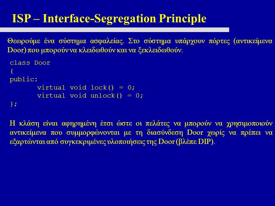 ISP – Interface-Segregation Principle Θεωρούμε ένα σύστημα ασφαλείας.