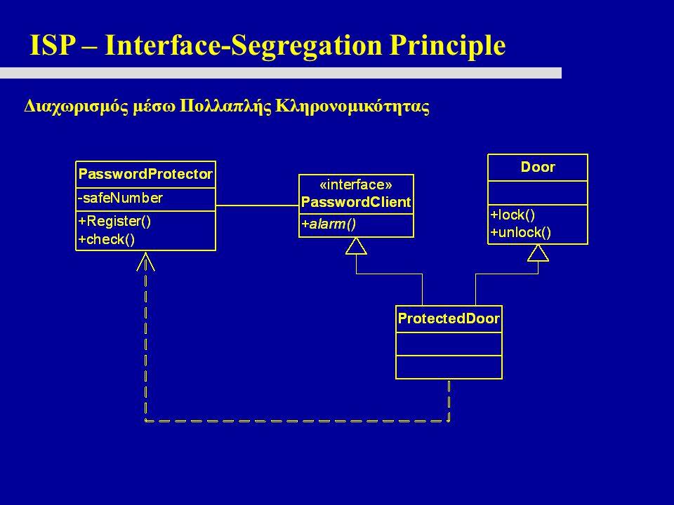 ISP – Interface-Segregation Principle Διαχωρισμός μέσω Πολλαπλής Κληρονομικότητας