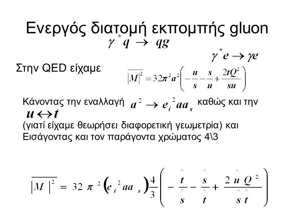 Ενεργός διατομή εκπομπής gluon Στην QED είχαμε Κάνοντας την εναλλαγή καθώς και την (γιατί είχαμε θεωρήσει διαφορετική γεωμετρία) και Εισάγοντας και τον παράγοντα χρώματος 4\3