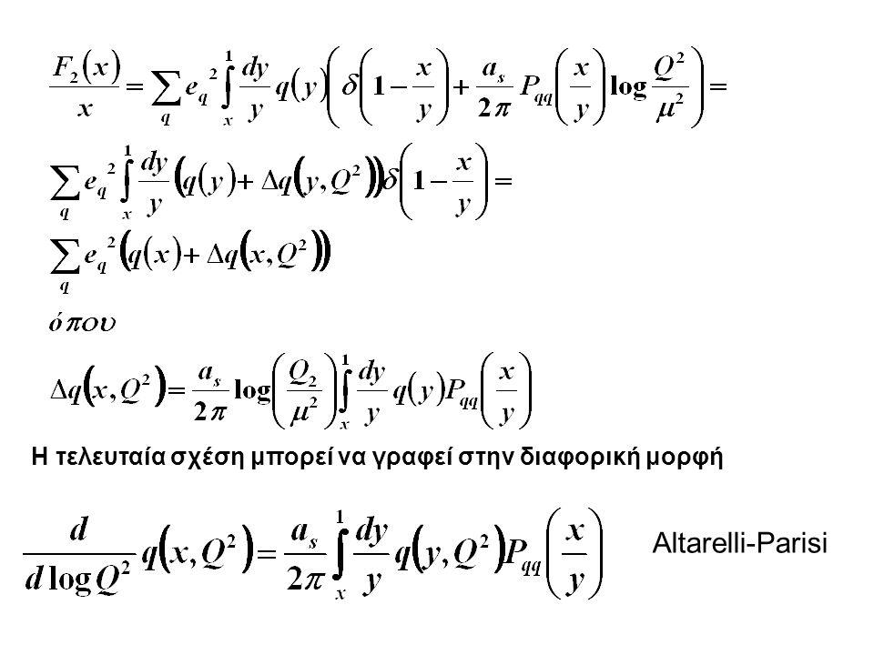 Η τελευταία σχέση μπορεί να γραφεί στην διαφορική μορφή Altarelli-Parisi