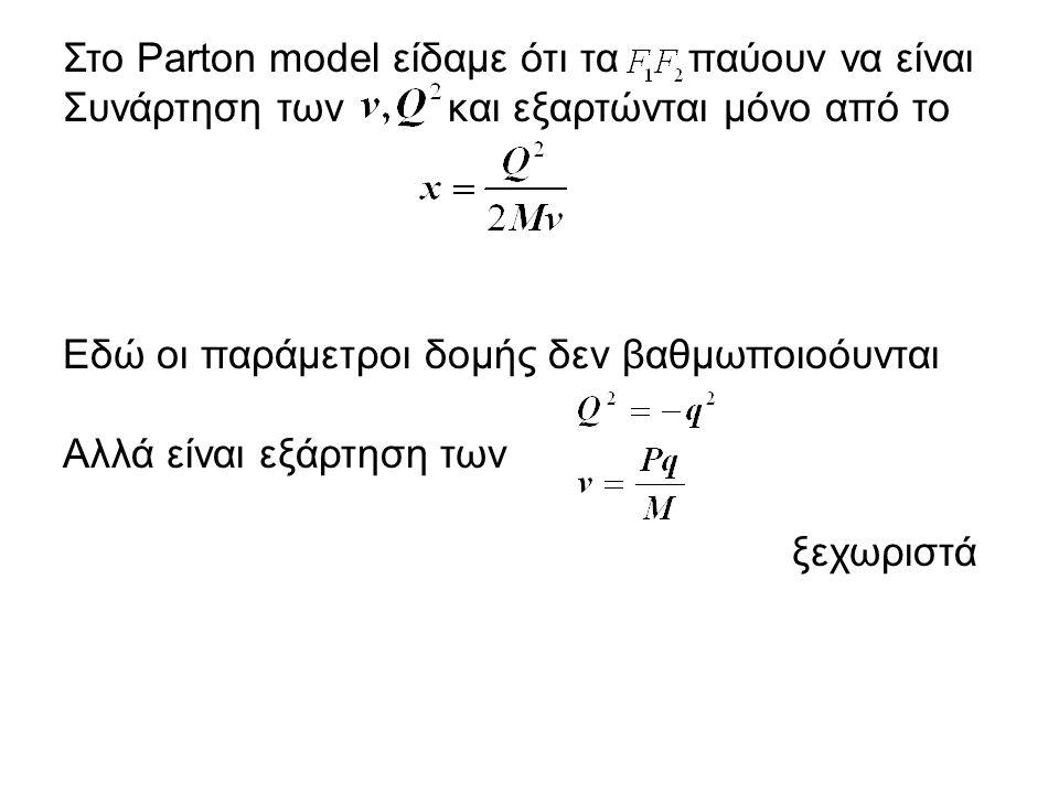 Στο Parton model είδαμε ότι τα παύουν να είναι Συνάρτηση των και εξαρτώνται μόνο από το Εδώ οι παράμετροι δομής δεν βαθμωποιοόυνται Αλλά είναι εξάρτηση των ξεχωριστά