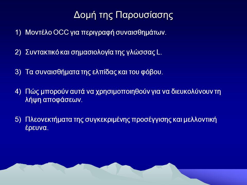 Δομή της Παρουσίασης 1)Μοντέλο OCC για περιγραφή συναισθημάτων. 2)Συντακτικό και σημασιολογία της γλώσσας L. 3)Τα συναισθήματα της ελπίδας και του φόβ