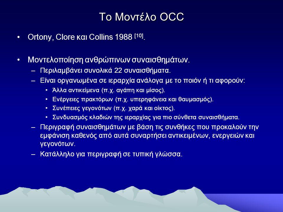 Το Μοντέλο OCC Ortony, Clore και Collins 1988 [10]. Μοντελοποίηση ανθρώπινων συναισθημάτων. –Περιλαμβάνει συνολικά 22 συναισθήματα. –Είναι οργανωμένα