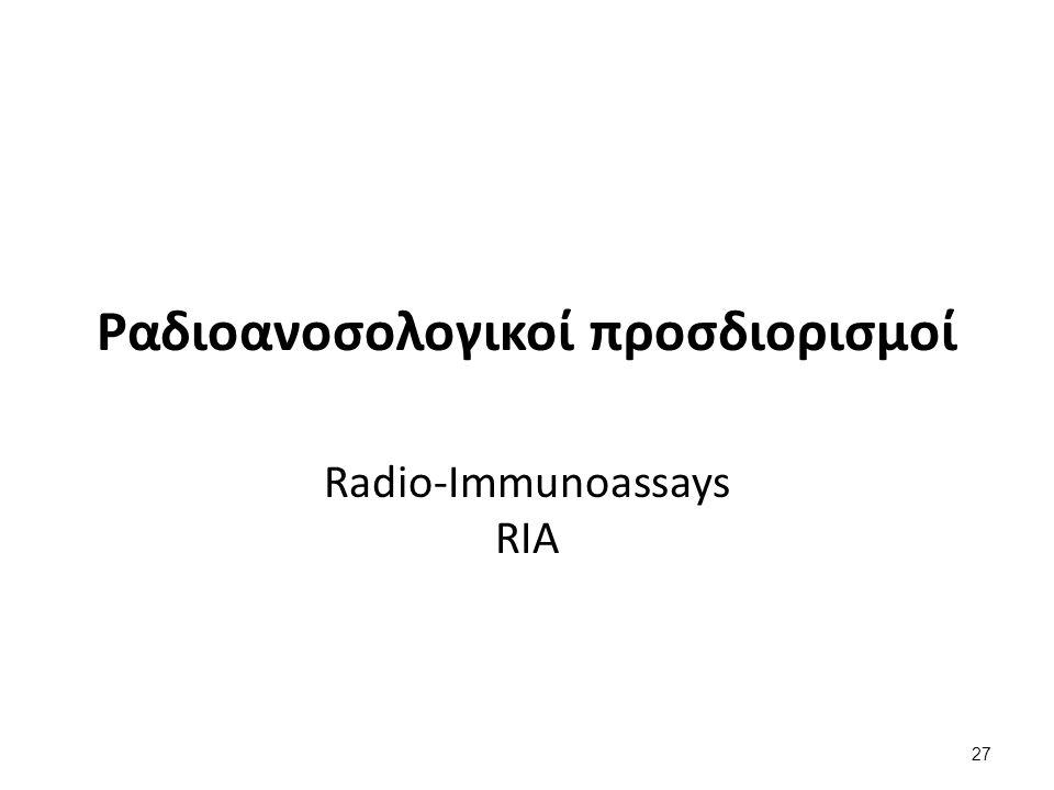 Ραδιοανοσολογικοί προσδιορισμοί Radio-Immunoassays RIA 27