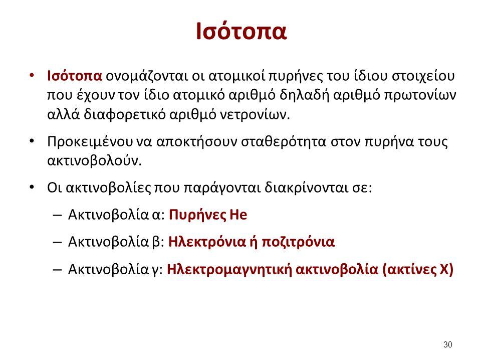 Ισότοπα Ισότοπα ονομάζονται οι ατομικοί πυρήνες του ίδιου στοιχείου που έχουν τον ίδιο ατομικό αριθμό δηλαδή αριθμό πρωτονίων αλλά διαφορετικό αριθμό νετρονίων.