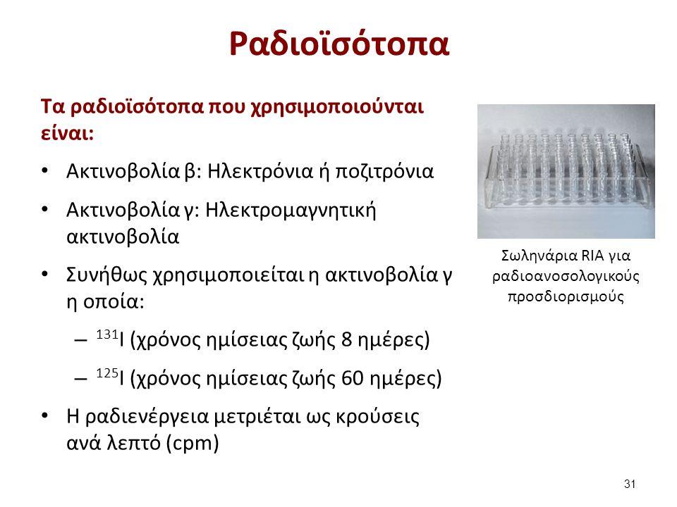 Σωληνάρια RIA για ραδιοανοσολογικούς προσδιορισμούς Ραδιοϊσότοπα Tα ραδιοϊσότοπα που χρησιμοποιούνται είναι: Ακτινοβολία β: Ηλεκτρόνια ή ποζιτρόνια Ακτινοβολία γ: Ηλεκτρομαγνητική ακτινοβολία Συνήθως χρησιμοποιείται η ακτινοβολία γ η οποία: – 131 I (χρόνος ημίσειας ζωής 8 ημέρες) – 125 I (χρόνος ημίσειας ζωής 60 ημέρες) H ραδιενέργεια μετριέται ως κρούσεις ανά λεπτό (cpm) 31