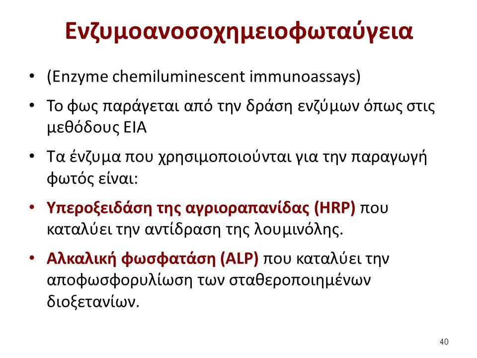 Ενζυμοανοσοχημειοφωταύγεια (Enzyme chemiluminescent immunoassays) To φως παράγεται από την δράση ενζύμων όπως στις μεθόδους ΕΙΑ Τα ένζυμα που χρησιμοποιούνται για την παραγωγή φωτός είναι: Yπεροξειδάση της αγριοραπανίδας (HRP) που καταλύει την αντίδραση της λουμινόλης.