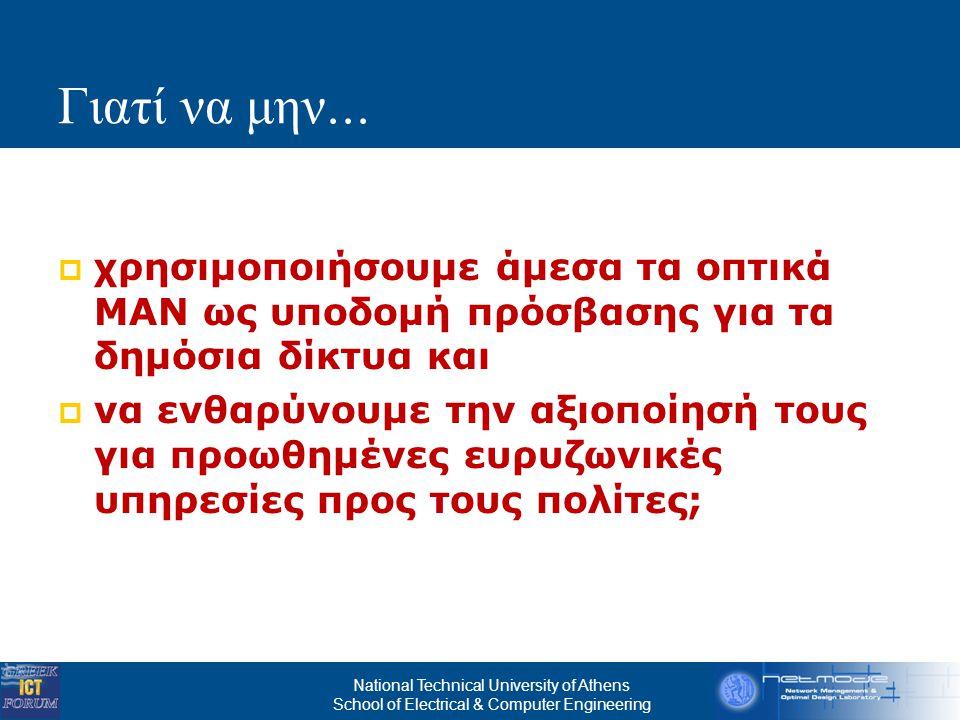 National Technical University of Athens School of Electrical & Computer Engineering Βραχυ π ρόθεσμες Ωφέλειες  Άμεσα οφέλη για τη Δημόσια Διοίκηση  Είναι δυνατή η άμεση ένταξη των ΜΑΝ στις ανάγκες των δημόσιων δικτύων και υπηρεσιών  Μείωση κόστους των δημόσιων τηλεπικοινωνιακών δαπανών  Οικονομίες κλίμακας (από την ευρεία αξιοποίηση των ΜΑΝ)  Δεν χρονομισθώνεται η φυσική υποδομή  Η οπτική τεχνολογία μπορεί μακροπρόθεσμα να είναι πιο οικονομική από την ασύρματη διασύνδεση  Καινοτόμες υπηρεσίες – αύξηση της παραγωγικότητας του Δημόσιου Τομέα  Βελτιωμένα τεχνικά χαρακτηριστικά της πρόσβασης  video, απομακρυσμένη συνεργασία, κινητικότητα (mobility) υπαλλήλων  Υψηλή διαθεσιμότητα, χαμηλή καθυστέρηση (βελτιωμένα επίπεδα υπηρεσίας - SLA)