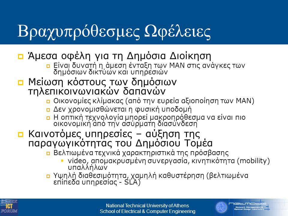 National Technical University of Athens School of Electrical & Computer Engineering Μεσο - μακρο π ρόθεσμες Προο π τικές  Ανάπτυξη περιφερειακών ευρυζωνικών αγορών – Προσέλκυση επενδύσεων Συνάθροιση ζήτησης Εκχώρηση διαχείρισης σε τηλεπικοινωνιακό πάροχο  Χονδρική διάθεση της υποδομής (με όρους ανοικτής πρόσβασης) σε τηλεπικοινωνιακούς πάροχους (για FTTH συνδέσεις)  Αναμόρφωση μίας επιχορηγούμενης υποδομής σε βιώσιμο δημόσιο δίκτυο πρόσβασης