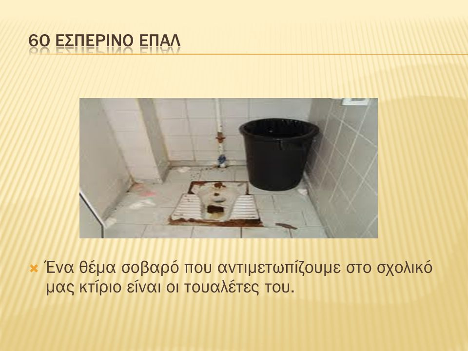  Ένα θέμα σοβαρό που αντιμετωπίζουμε στο σχολικό μας κτίριο είναι οι τουαλέτες του.