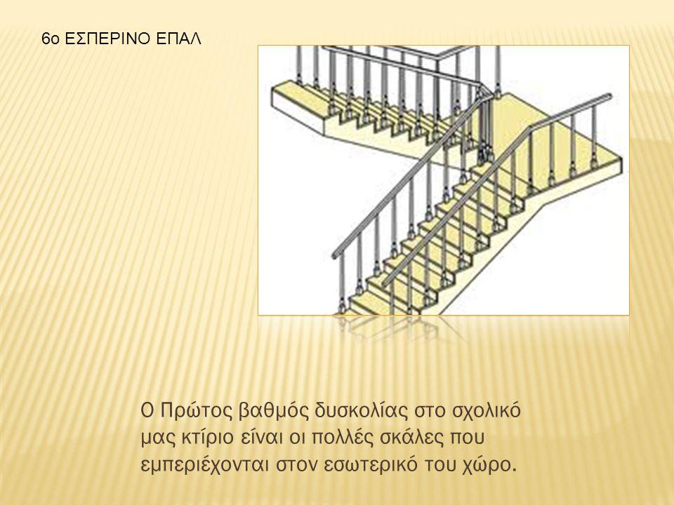 Ο Πρώτος βαθμός δυσκολίας στο σχολικό μας κτίριο είναι οι πολλές σκάλες που εμπεριέχονται στον εσωτερικό του χώρο.
