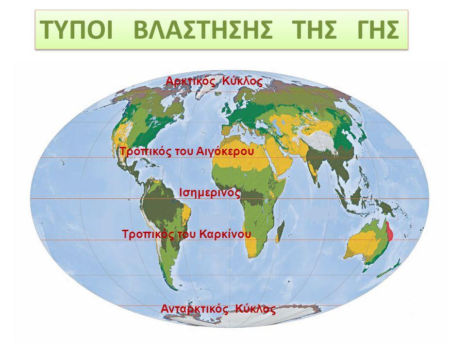 ΤΥΠΟΙ ΒΛΑΣΤΗΣΗΣ ΤΗΣ ΓΗΣ Ισημερινός Αρκτικός Κύκλος Ανταρκτικός Κύκλος Τροπικός του Αιγόκερου Τροπικός του Καρκίνου