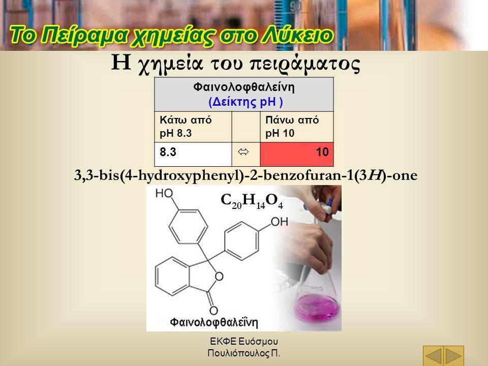 ΕΚΦΕ Ευόσμου Πουλιόπουλος Π. Η χημεία του πειράματος Φαινολοφθαλείνη (Δείκτης pH ) Κάτω από pH 8.3 Πάνω από pH 10 8.3  10 C 20 H 14 O 4 3,3-bis(4-hyd
