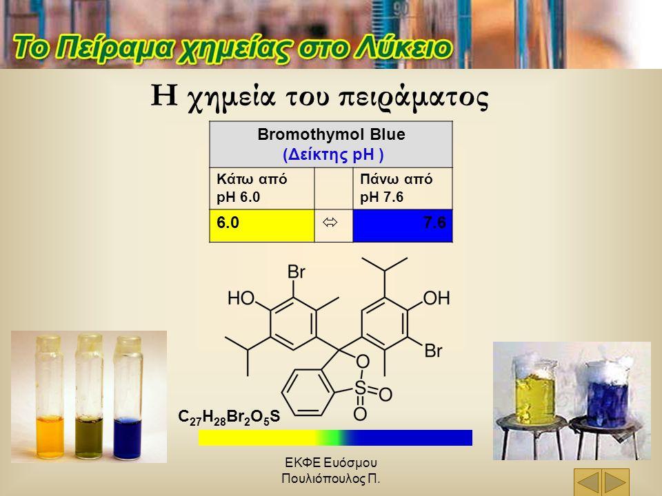 ΕΚΦΕ Ευόσμου Πουλιόπουλος Π. Bromothymol Blue (Δείκτης pH ) Κάτω από pH 6.0 Πάνω από pH 7.6 6.0  7.6 C 27 H 28 Br 2 O 5 S Η χημεία του πειράματος