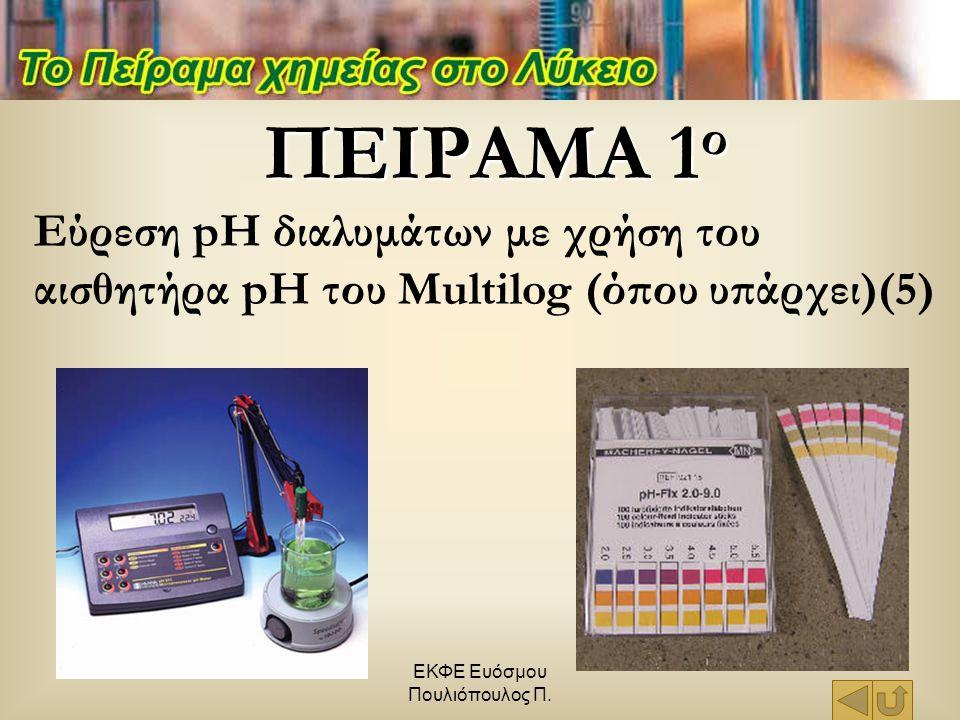 ΕΚΦΕ Ευόσμου Πουλιόπουλος Π. ΠΕΙΡΑΜΑ 1 ο Εύρεση pH διαλυμάτων με χρήση του αισθητήρα pH του Multilog (όπου υπάρχει)(5)