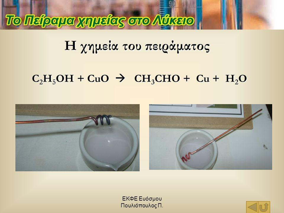 ΕΚΦΕ Ευόσμου Πουλιόπουλος Π. Η χημεία του πειράματος C 2 H 5 OH + CuO  CH 3 CHO + Cu + H 2 O