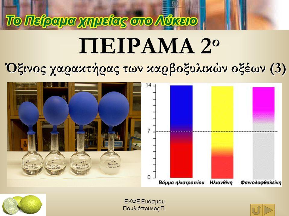 ΕΚΦΕ Ευόσμου Πουλιόπουλος Π. ΠΕΙΡΑΜΑ 2 ο Όξινος χαρακτήρας των καρβοξυλικών οξέων (3)