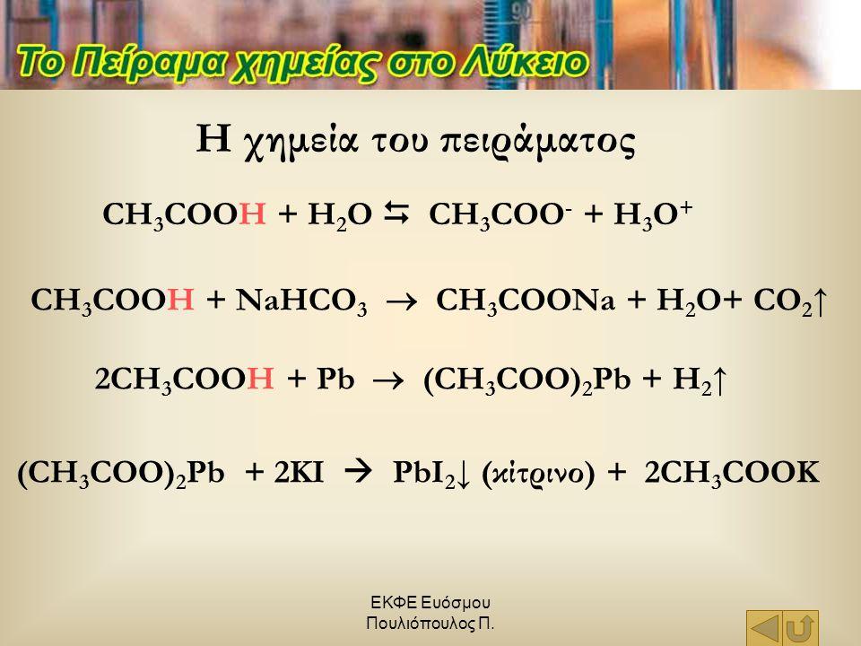 ΕΚΦΕ Ευόσμου Πουλιόπουλος Π. Η χημεία του πειράματος (CH 3 COO) 2 Pb + 2KI  PbI 2 ↓ (κίτρινο) + 2CH 3 COOK 2CH 3 COOH + Pb  (CH 3 COO) 2 Pb + H 2 ↑