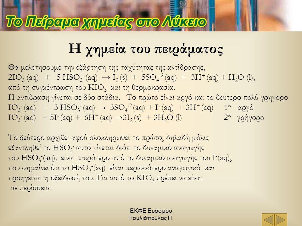 ΕΚΦΕ Ευόσμου Πουλιόπουλος Π. Θα μελετήσουμε την εξάρτηση της ταχύτητας της αντίδρασης, 2IO 3 - (aq) + 5 HSO 3 - (aq) → I 2 (s) + 5SO 4 -2 (aq) + 3H +
