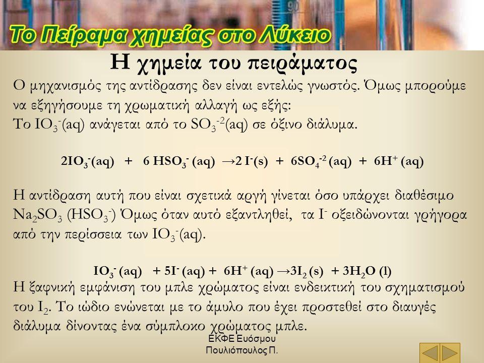 ΕΚΦΕ Ευόσμου Πουλιόπουλος Π. Η χημεία του πειράματος Ο μηχανισμός της αντίδρασης δεν είναι εντελώς γνωστός. Όμως μπορούμε να εξηγήσουμε τη χρωματική α